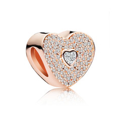 Rose Gold Love Heart Crystal Charm